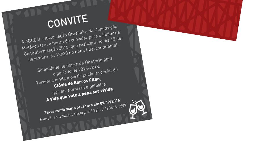 A ABCEM tem a honra de convidar para o jantar de confraternização 2016, que realizará no dia 15 de dezembro, às 18:30 no hotel Intercontinental.