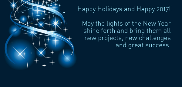 May the lights of the New Year shine forth and bring them all new projects, new challenges and great success.